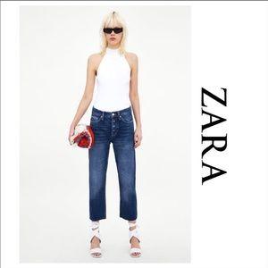 Zara high rise straight leg cropped jeans
